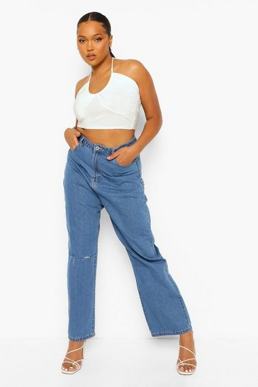 Mid blue blue Plus High Waist Ripped Boyfriend Jean