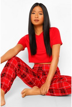 Red Petite Check T Shirt and Trouser Christmas Pyjamas