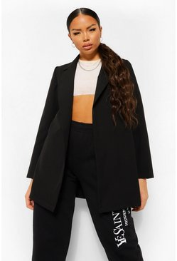 Black Petite Woven Belted Oversized Blazer