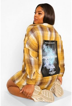 Mustard yellow Plus Oversized Back Print Flannel Shirt Dress