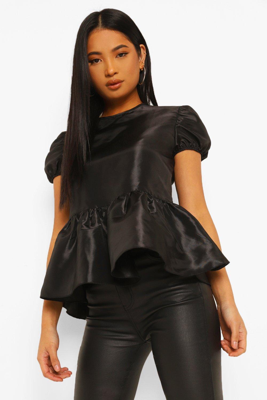 WOMENS Black Petite Taffeta Woven Peplum Top