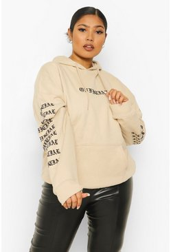 Stone beige Plus Official Arm Print Hoody