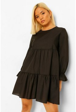 Black Petite Woven Flare Cuff Smock Dress