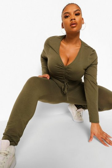 Khaki Plus Ruched Front Top And Legging Lounge Set