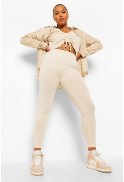 Set per il tempo libero Plus con top increspato davanti e legging, Pietra beige