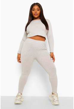 Grey marl grey Plus Wide Neck Crop Top And Legging