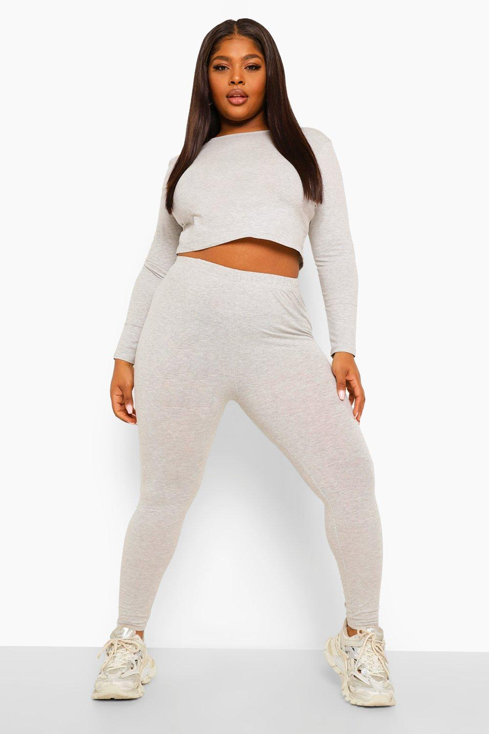 Plus Wide Neck Crop Top And Legging 15
