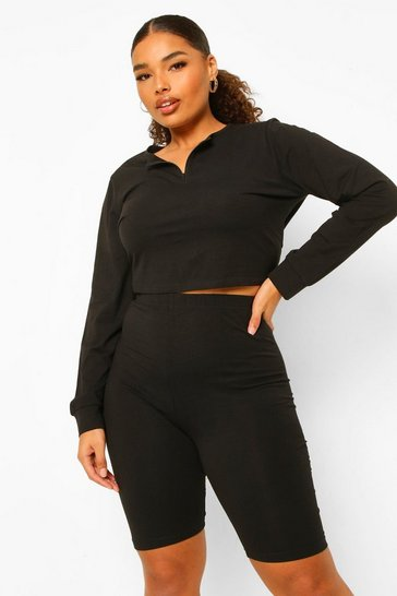 Black Plus Zip Front Long Sleeve Top And Cycling Short