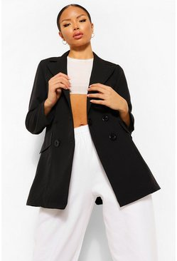 Black Petite Double Breasted Pocket Detail Blazer