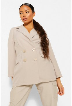 Stone beige Petite Double Breasted Pocket Detail Blazer