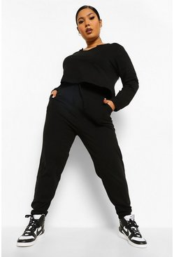 Black Plus Notch Front Crop And Jogger Set