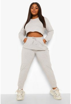 Grey marl grey Plus Notch Front Crop And Jogger Set