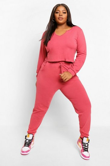 Rose pink Plus Notch Front Crop And Jogger Set