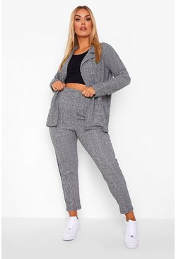 Grey Plus Check Side Stripe Suit Co-ord