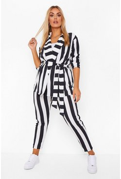 Black Plus Stripe Tie Waist Suit Co-ord