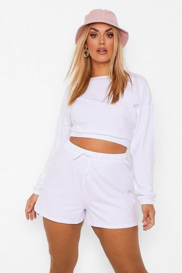 White Plus Elasticated Crop And Flippy Short Set