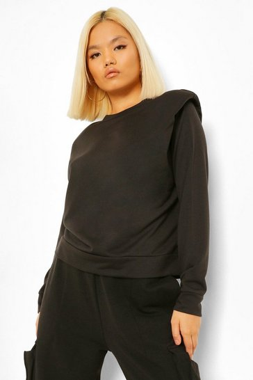 Black Petite Shoulder Pad Sweatshirt