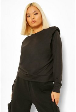Black Petite Shoulder Pad Sweatshirt
