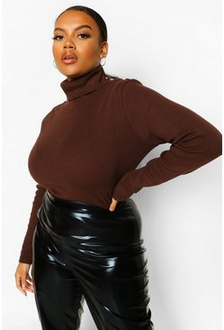 Chocolate brown Plus Rib Knit High Neck Jumper