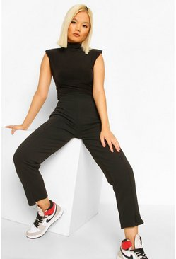 Black Petite Split Hem Tailored Trouser