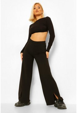 Black Petite Front Split Wide Leg Trousers