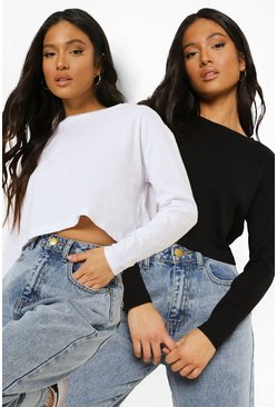 Blackwhite black Petite Basic Long Sleeve T-Shirt 2 Pack