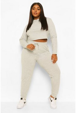 Grey marl grey Plus Cropped Hoody Tracksuit