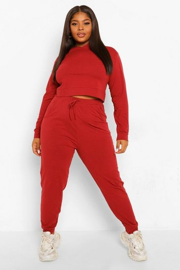Rust orange Plus Cropped Hoody Tracksuit