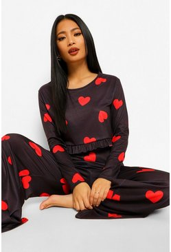 Black Petite Heart Print Wide Leg Pj Trouser Set