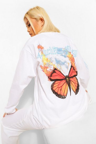 White Petite Butterfly Printed Long Sleeve T-Shirt