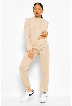 Stone Petite Knitted Hoody & Jogger Co-ord Set