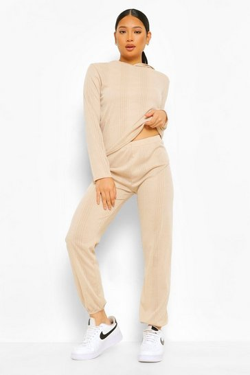 Stone beige Petite Knitted Hoody & Jogger Co-ord Set