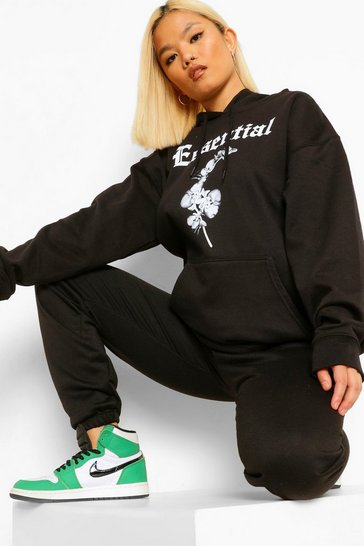 Black Petite 'Essential' Slogan Printed Hoody