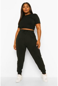 Black Plus Crew Neck T-shirt And Jogger Set