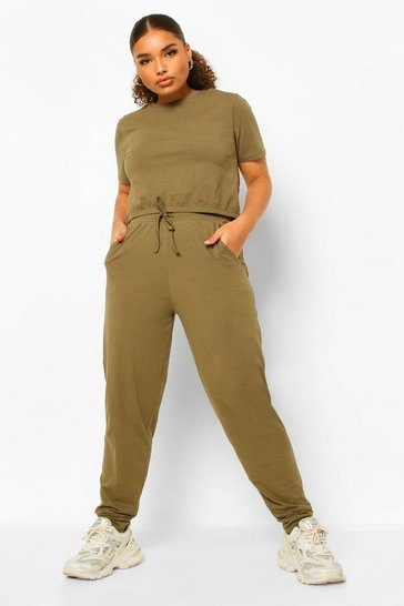 Khaki Plus Crew Neck T-shirt And Jogger Set