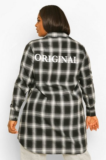 Black Plus Original Oversized Check Shirt Dress
