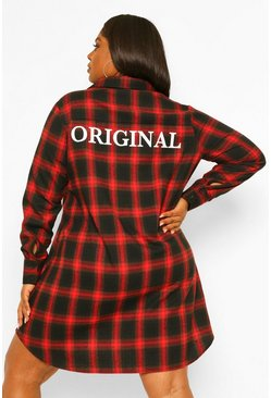 Red Plus Original Oversized Flannel Shirt Dress