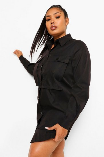 Black Plus Pocket Front Extreme Oversized Shirt Dress