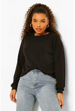 Black Plus Soft Rib Shoulder Pad Jumper