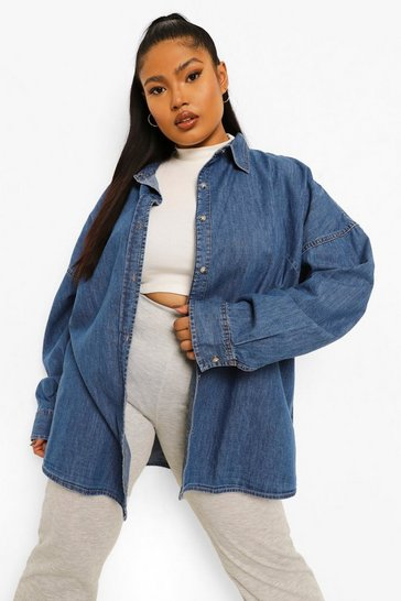 Mid blue blue Plus Ultimate Oversized Denim Shirt