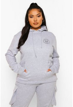 Grey marl grey Plus Ski Club Pocket Printed Hoody
