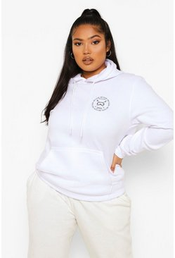 Ivory white Plus Ski Club Pocket Printed Hoody