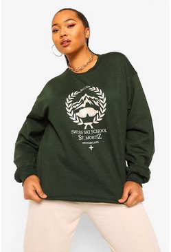Bottle green green Plus Ski School Sweater Met Opdruk