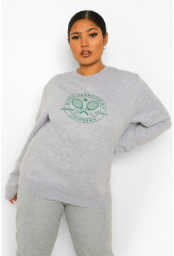 Grey marl grey Plus Tennis Club Printed Sweat
