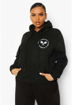 Black Plus Tennis Club Pocket Printed Hoody