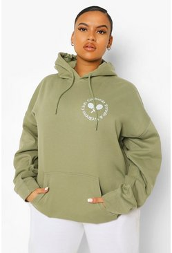 Khaki Plus Tennis Club Pocket Printed Hoody