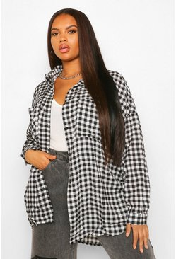 Black Plus Geruite Gingham Oversized Boyfriend Blouse