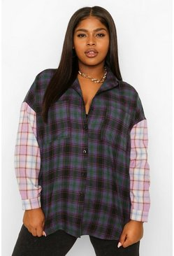 Purple Plus Contrast Check Oversized Boyfriend Shirt
