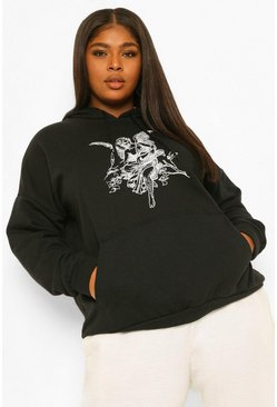 Black Plus Cherub Oversized Hoody