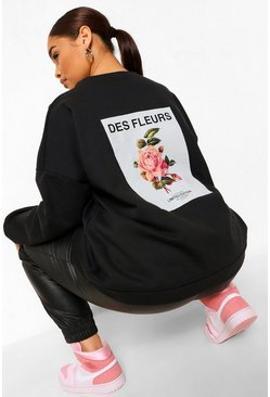 Black Plus Fleurs Back Print Oversized Sweat
